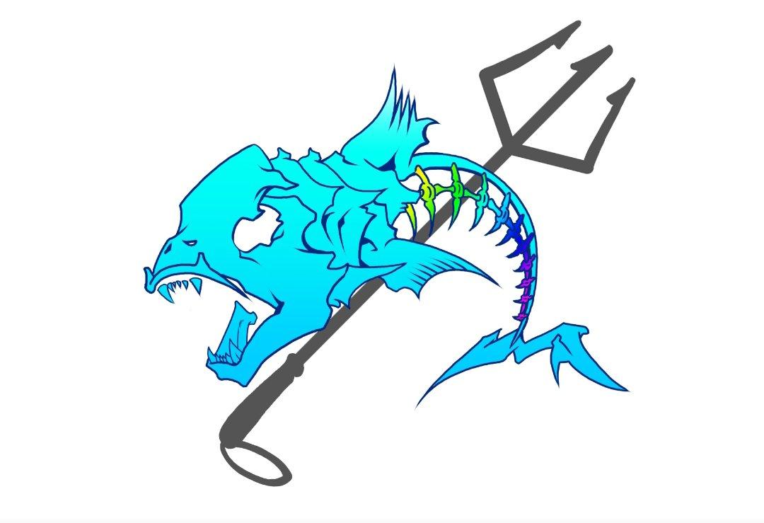夏Tシャツ用魚のロゴデザイン