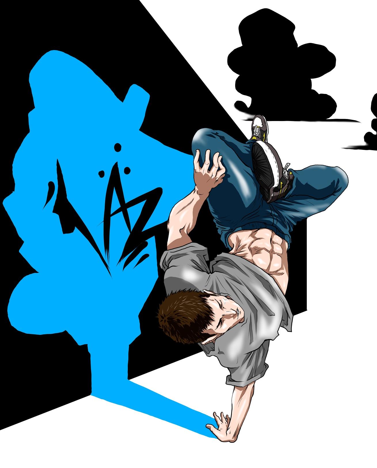 ブレイクダンスのイラスト(足組ジョーダン)